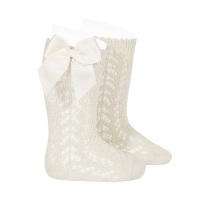 Perle Knee High Socks With Bow - Soft Linen