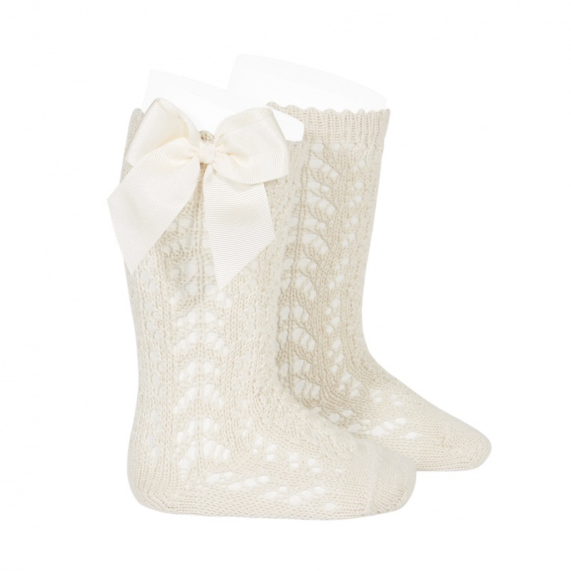 NEW - Perle Knee High Socks With Bow - Soft Linen
