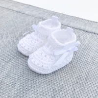 Soft Crochet Knit Booties - White