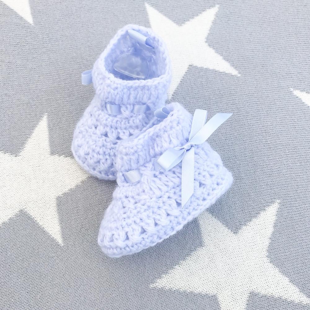 Soft Crochet Knit Booties - Blue