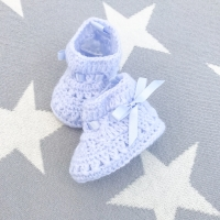 Soft Crochet Knit Booties - Blue