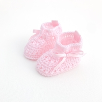 Soft Crochet Knit Booties - Pink