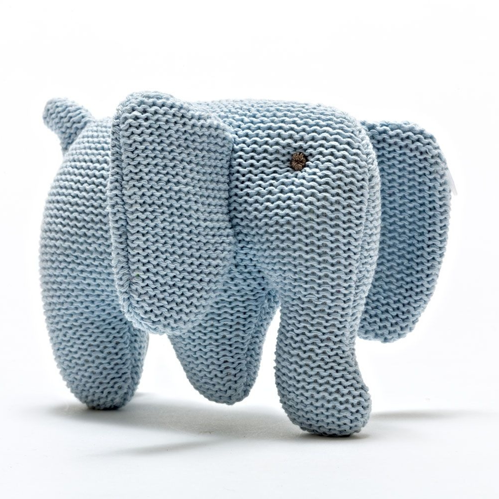 Organic Knitted Elephant Rattle - Blue