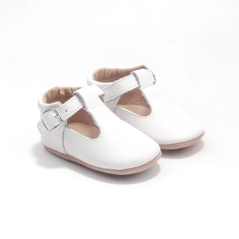Beautiful White Leather T-bar Shoe