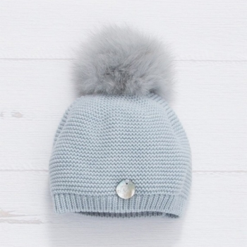 PREORDER - Pangasa Baby Fur Pom Hat - Blue