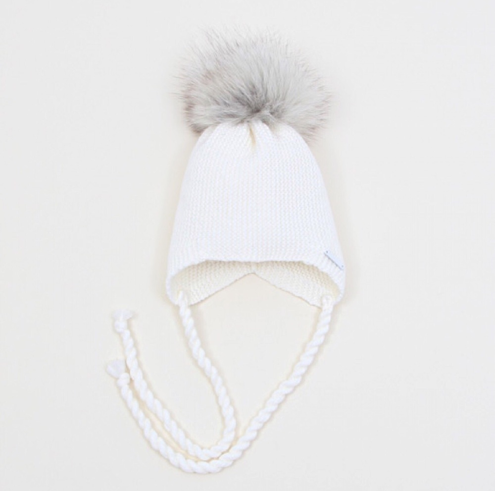 PREORDER - Pangasa Baby Hat With Tie - Ivory