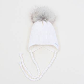 PREORDER - Pangasa Baby Fur Pom Hat With Tie - Ivory