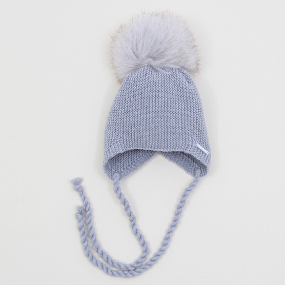 PREORDER - Pangasa Baby Fur Pom Hat With Tie - Grey