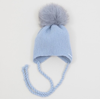 PREORDER - Pangasa Baby Fur Pom Hat With Tie - Blue