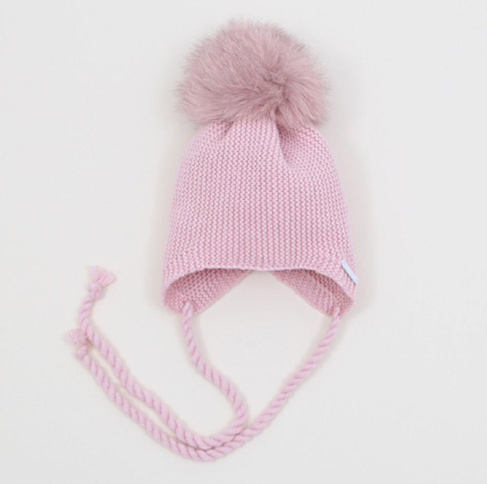 PREORDER - Pangasa Baby Fur Pom Hat With Tie - PINK