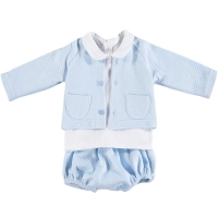 Babidu - Quilted Jacket & Pants Set - Blue