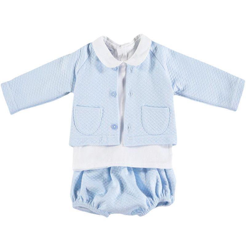 Babidu - Quilted Jacket & Pants Set - Blue