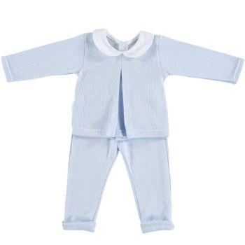 Babidu - Long Sleeve Fine Knit Top & Pants Set - Blue