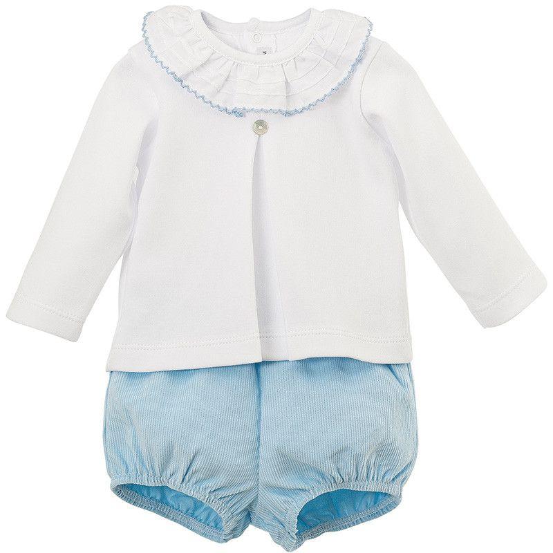 Oliver Frill Neck Top & Shorts Set - Blue