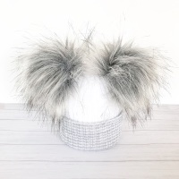 My First Double Fur Pom Hat - Grey & White