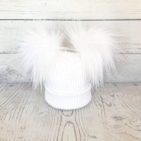 My First Double Fur Pom Hat - White