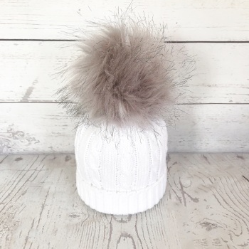 Cable Knit Faux Fur Pom Hat - White & Soft Grey
