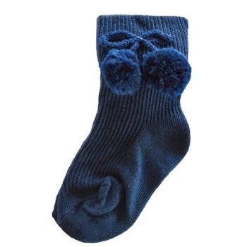 Turn Down Pom Pom Ankle Socks - Navy