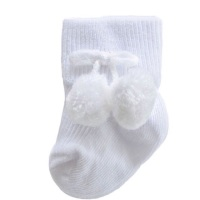 Turn Down Pom Pom Ankle Socks - White