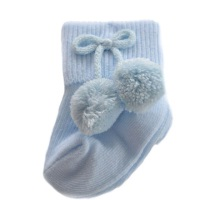 Turn Down Pom Pom Ankle Socks - Blue