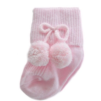 Turn Down Pom Pom Ankle Socks - Pink