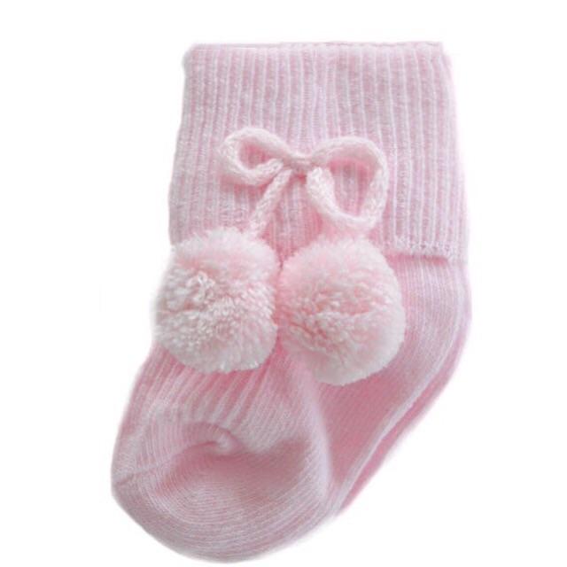 Turn Down Pom Pom Ankle Socks - Pink