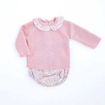 Ivy Knitted Jumper & Jam Pants Set - Rose