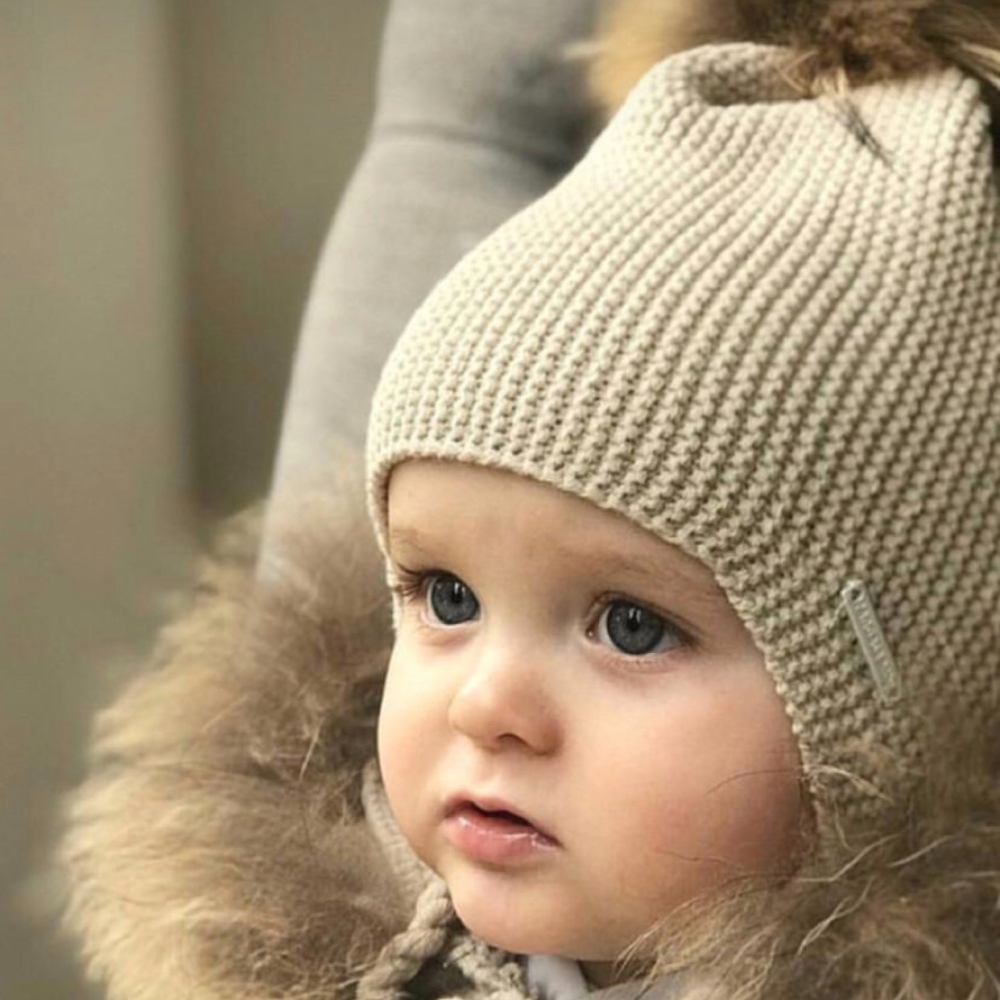 PREORDER - Pangasa Baby Fur Pom Hat With Tie - Beige
