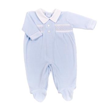 Archie Velour BabyGrow - Blue
