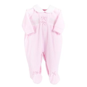 Evie Velour BabyGrow - Pink