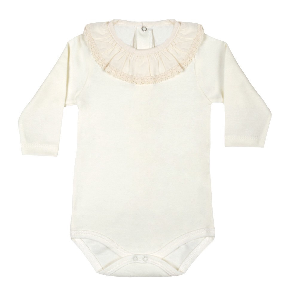 Long Sleeve Frill Neck Bodysuit - Cream