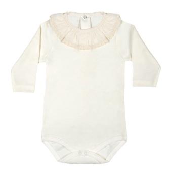 Long Sleeve Frill Neck Bodysuit - Cream
