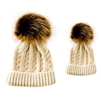 Baby & Me Faux Fur Pom Hat Set - Beige/Brown