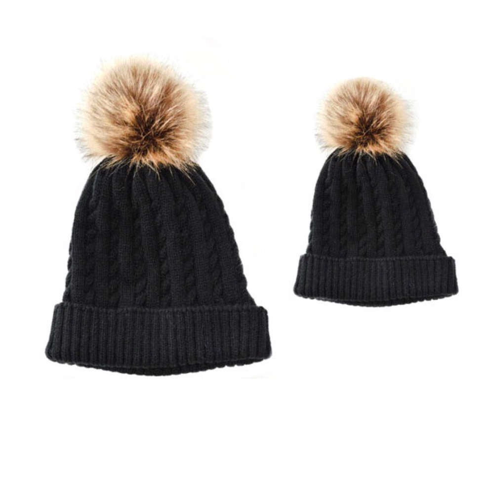 Baby & Me Faux Fur Pom Hat Set - Black/Brown