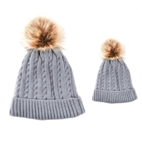 Baby & Me Faux Fur Pom Hat Set - Grey/Brown