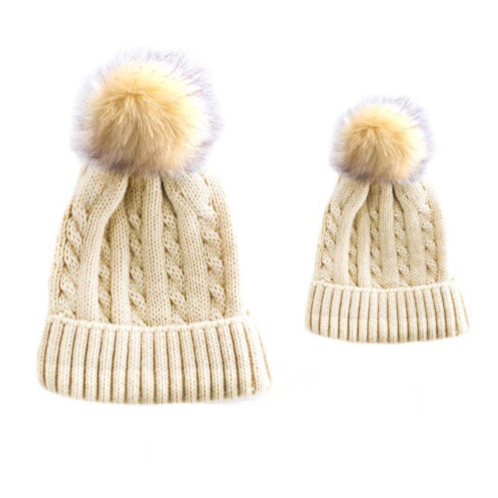 Baby & Me Hat Set - Beige/Cream