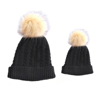 Baby & Me Faux Fur Pom Hat Set - Black/Cream