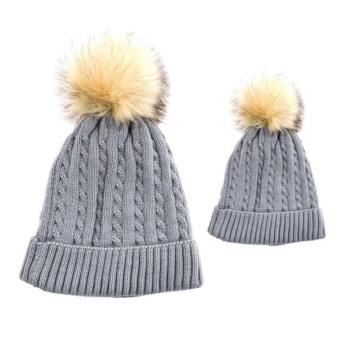 Baby & Me Faux Fur Pom Hat Set - Grey/Cream