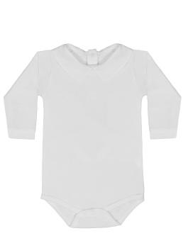 Long Sleeve Collared Bodysuit - White