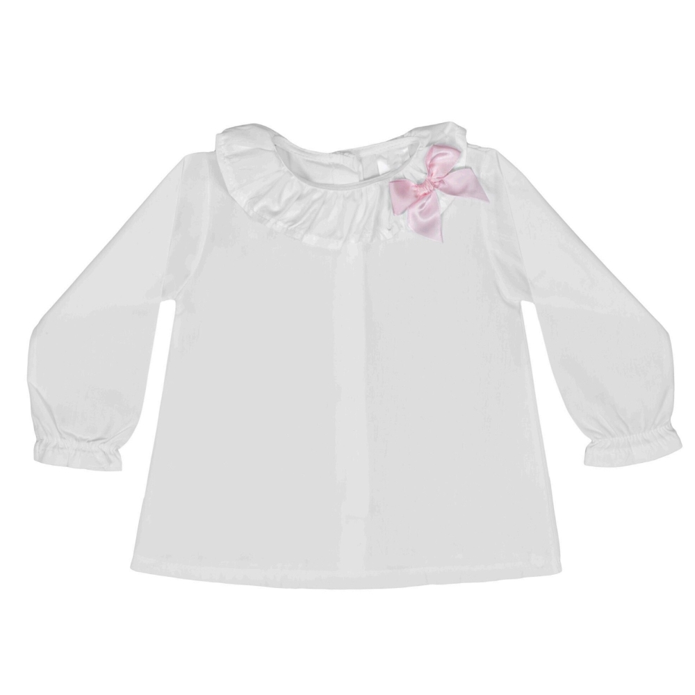 Soft Cotton Frill Neck Blouse With Bow - White/Pink