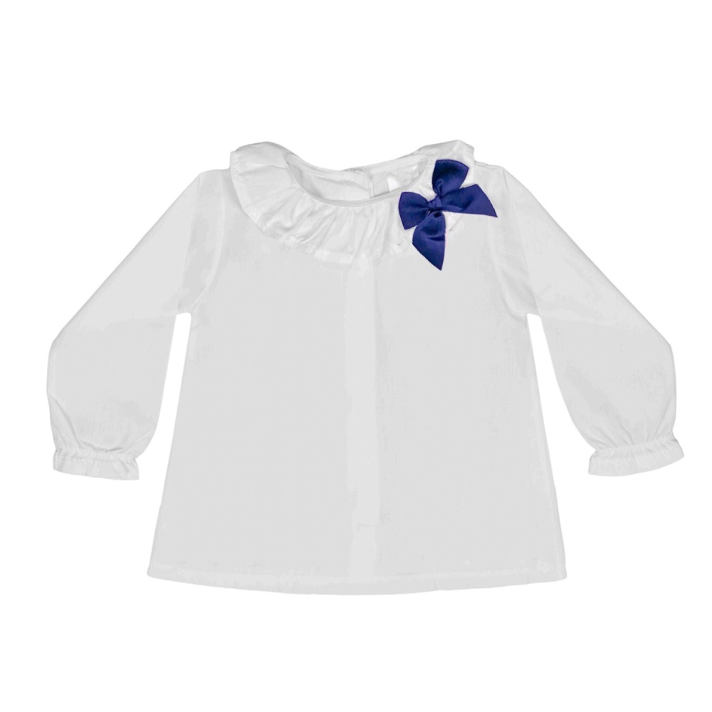 Soft Cotton Frill Neck Blouse With Bow - White/Navy
