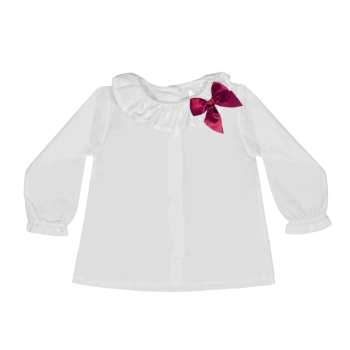 Soft Cotton Frill Neck Blouse With Bow - White/Ruby