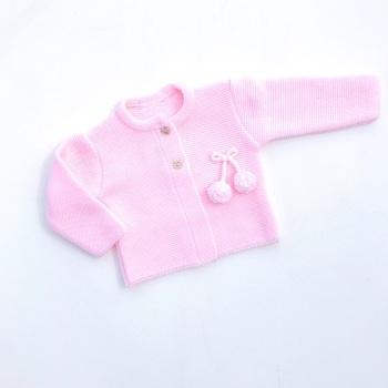 Harlow Knitted Pom Pom Cardigan - Pink