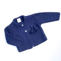 Harlow Knitted Pom Pom Cardigan - Navy