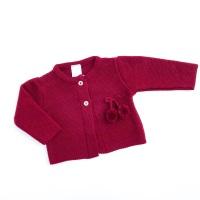 Harlow Knitted Pom Pom Cardigan - Merlot