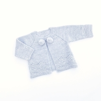 Asher Knitted Pom Pom Cardigan - Grey