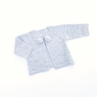 Asher Knitted Pom Pom Cardigan - Grey