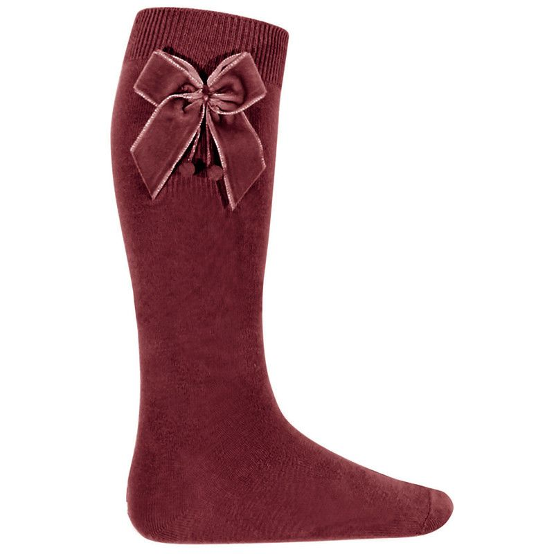 Velvet Bow Knee High Socks - Merlot