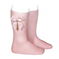 Knee High Socks With Bow - Vintage Rose