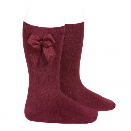Knee High Socks With Bow - Merlot